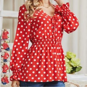 Suzanne Betro Red White Polka Dot Lace Up Tunic